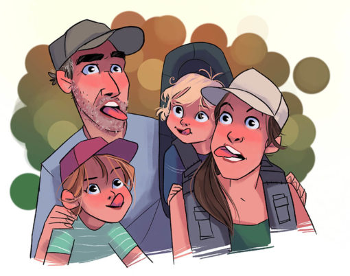 ArtCorgi - Family Portraits by Megan Crow featuring a family making funny faces
