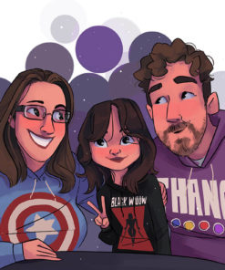 ArtCorgi - Family Portraits by Megan Crow featuring a family wearing marvel sweaters