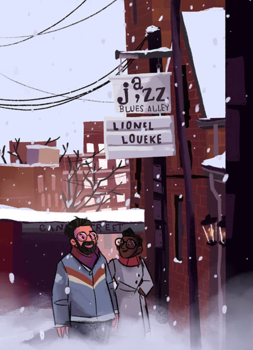 ArtCorgi - Family Portraits by Megan Crow of a couple walking in a snowy city