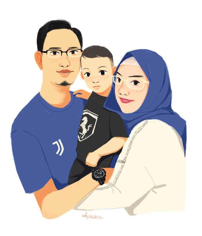 ArtCorgi - Family portrait - Flat colored portraits commission sample by Barbila