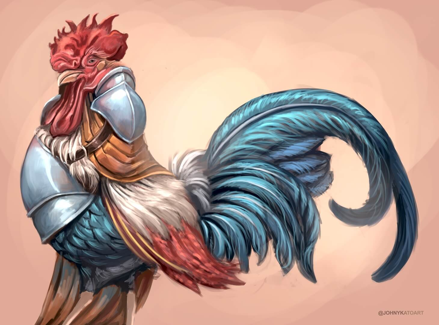 ArtCorgi - Pet and animal portraits by JohnyKatoArt featuring a rooster with armor