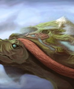 ArtCorgi - Pet and animal portraits by JohnyKatoArt featuring a turtle with a mountain on its back