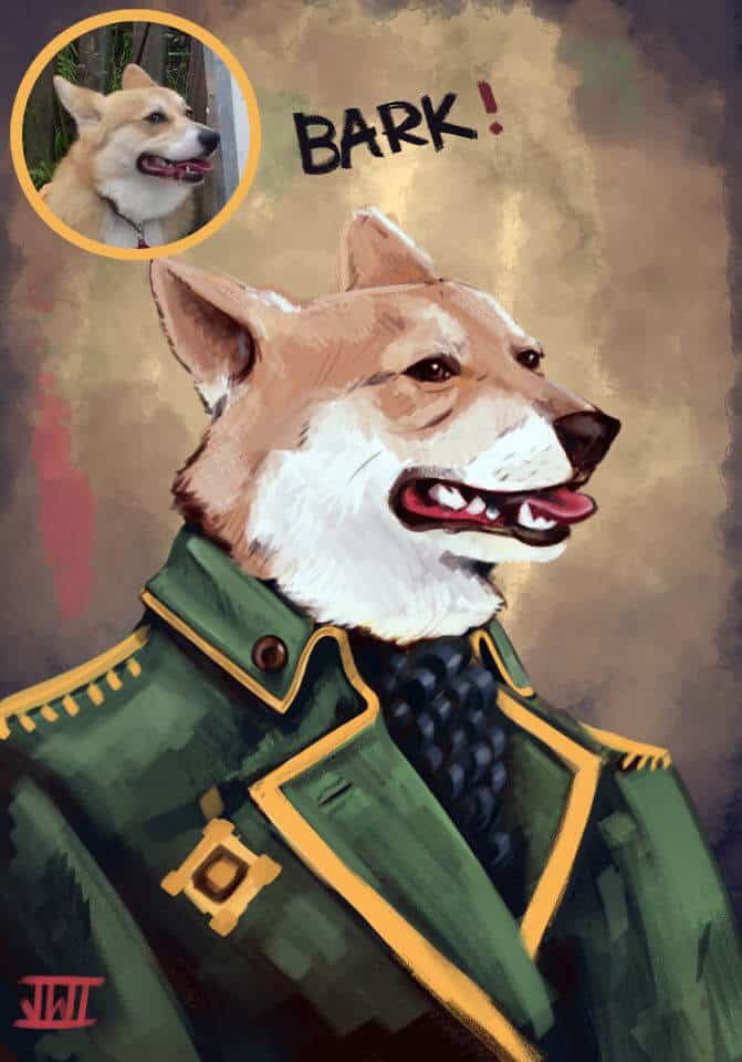 ArtCorgi - Pet portraits commission sample by Joe Watson - Corgi