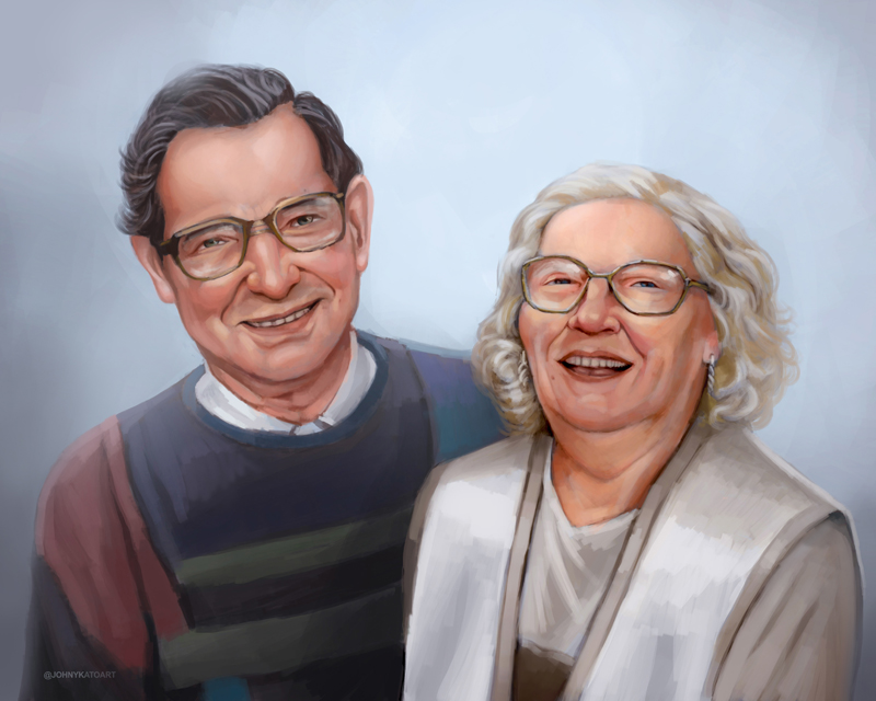 ArtCorgi - Realistic portraits by JohnykatoArt featuring an elderly couple