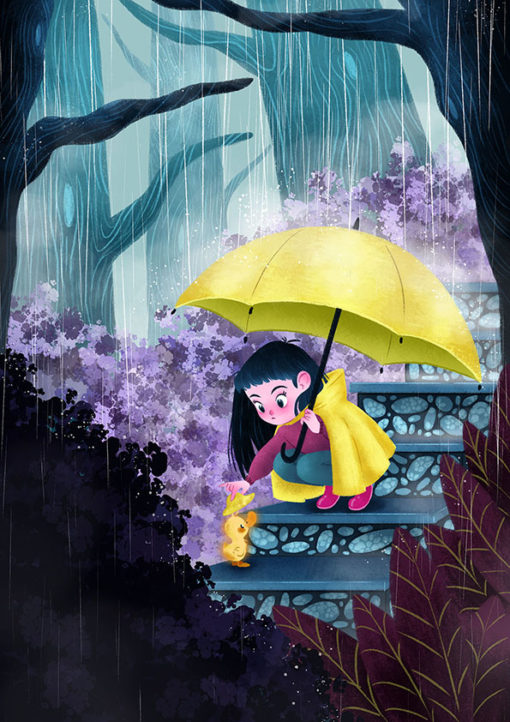 ArtCorgi - Stylized portraits commission sample by Silvia Brunetti featuring a child and a duck in the rain
