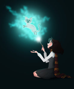 ArtCorgi - Stylized portraits commission sample by Silvia Brunetti featuring a girl casting a patronus spell