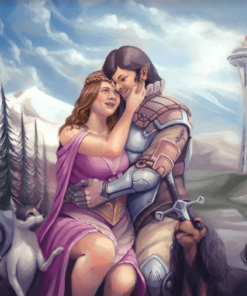 Artcorgi commission by JohnyKatoArt featuring a lovely couple in fantasy Seattle with their pets
