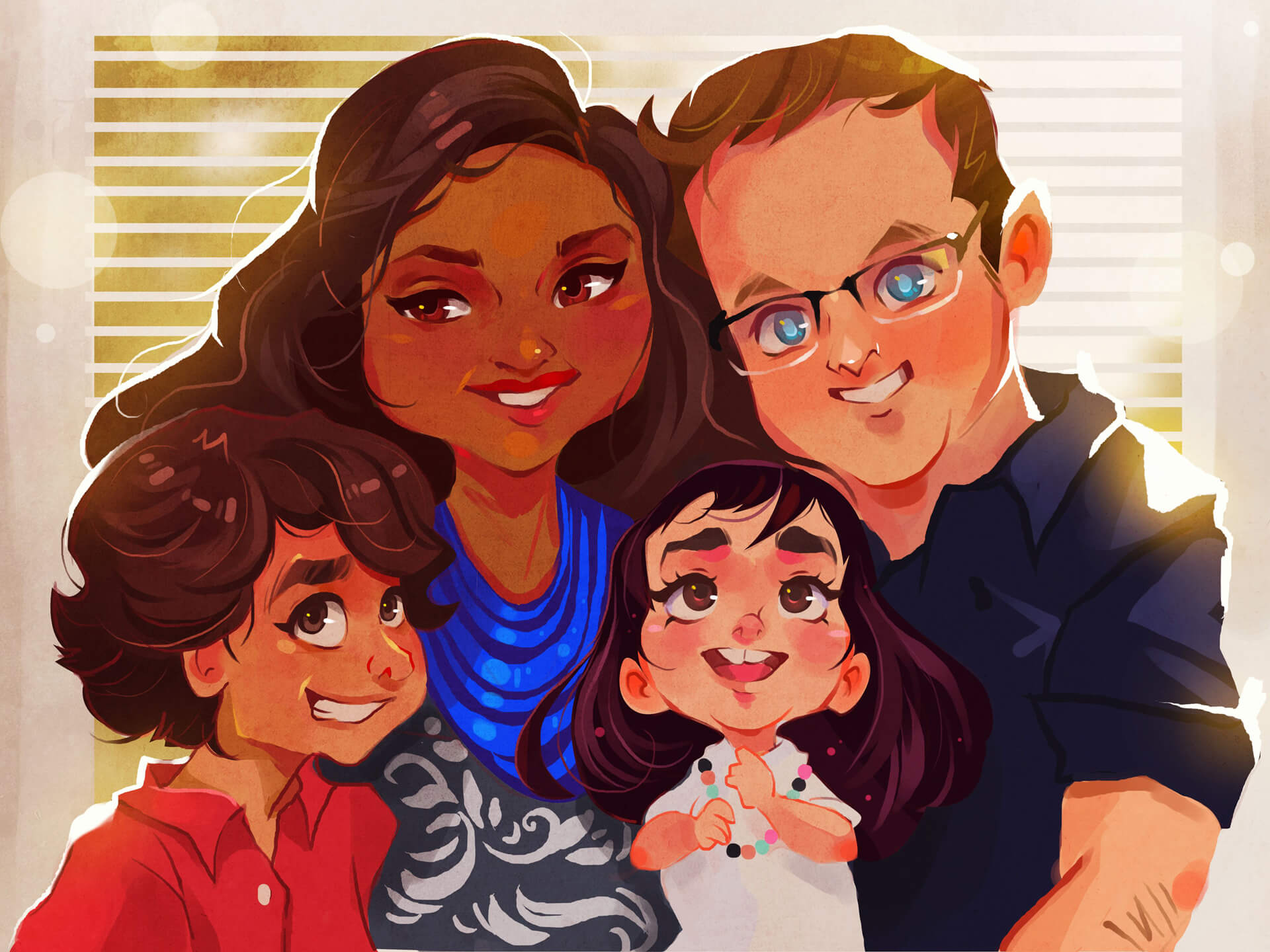 Family portrait commission inspired by Pixar done by Vince Ruz