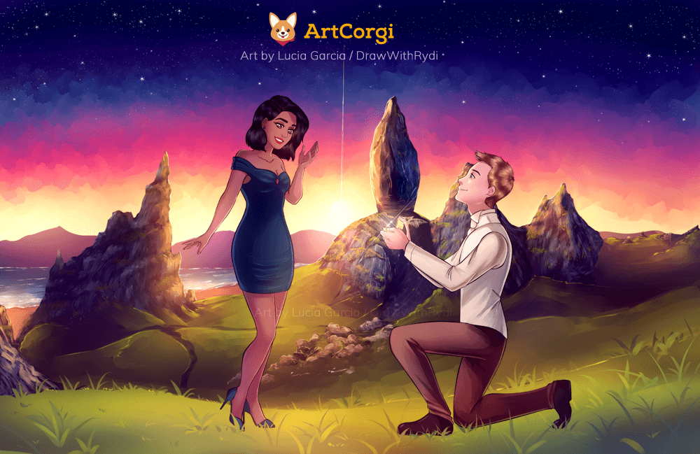 artcorgi commission featuring a marriage proposal in the old man of storr by Lucia Garcia
