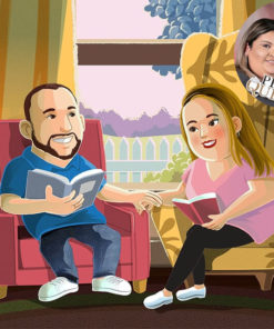 Artcorgi - Pixar Up inspired portraits commission sample of a couple in their living room by Donna Capacete