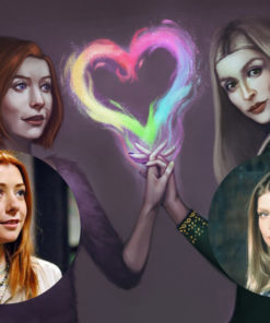 Painterly portraits commission samples by Helena Alves featuring Buffy characters Willow and Tara