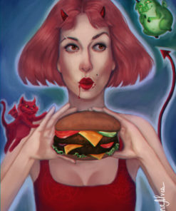 Painterly portraits commission samples by Helena Alves featuring a devilish woman with a burger