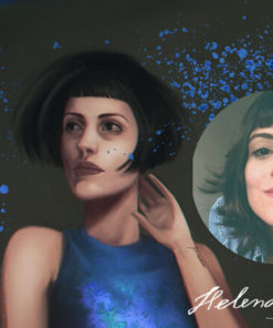 Painterly portraits commission samples by Helena Alves featuring a woman