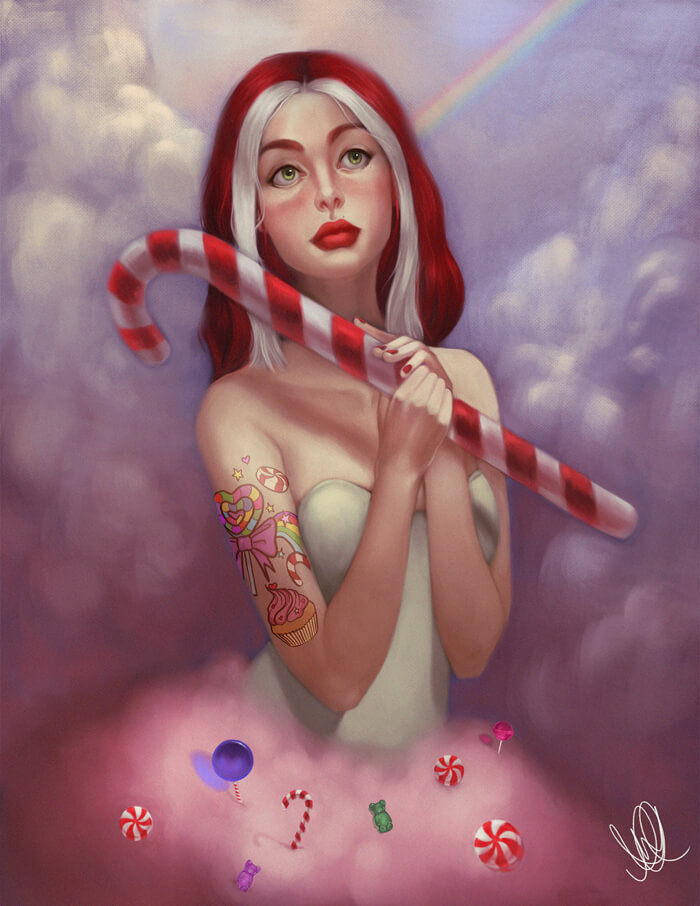 Painterly portraits commission samples by Helena Alves featuring a woman with a candy cane