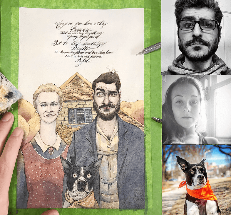 ArtCorgi - Watercolor and ink portraits by BenKleinArt featuring a couple and a dog