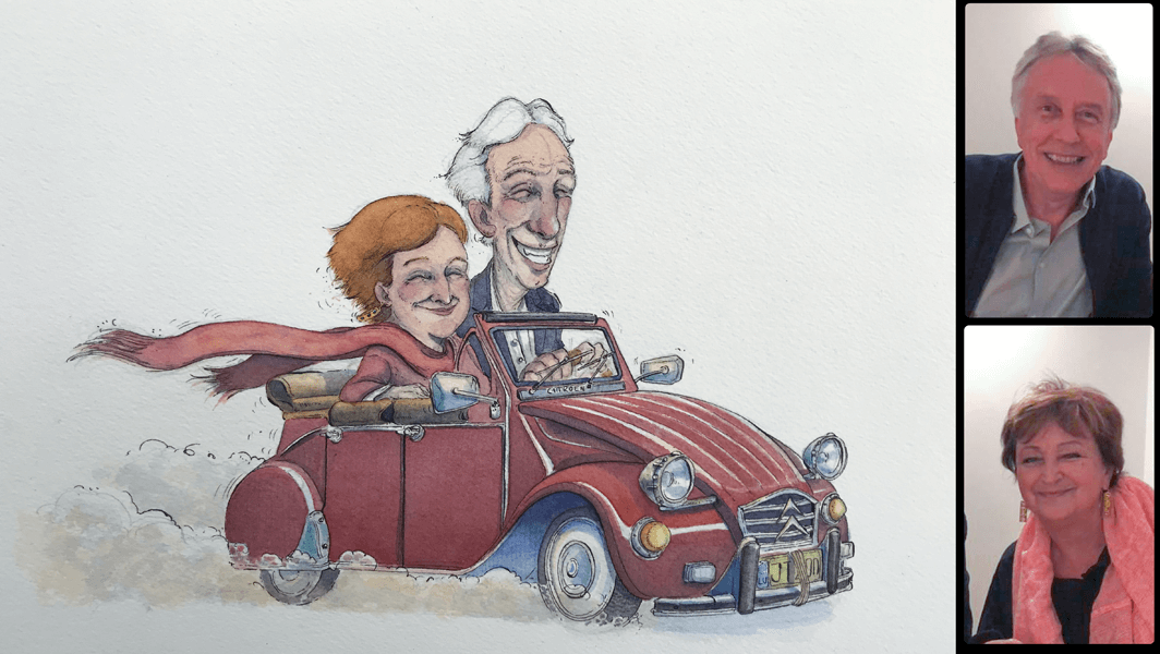 ArtCorgi - Watercolor and ink portraits by BenKleinArt featuring a couple driving a car