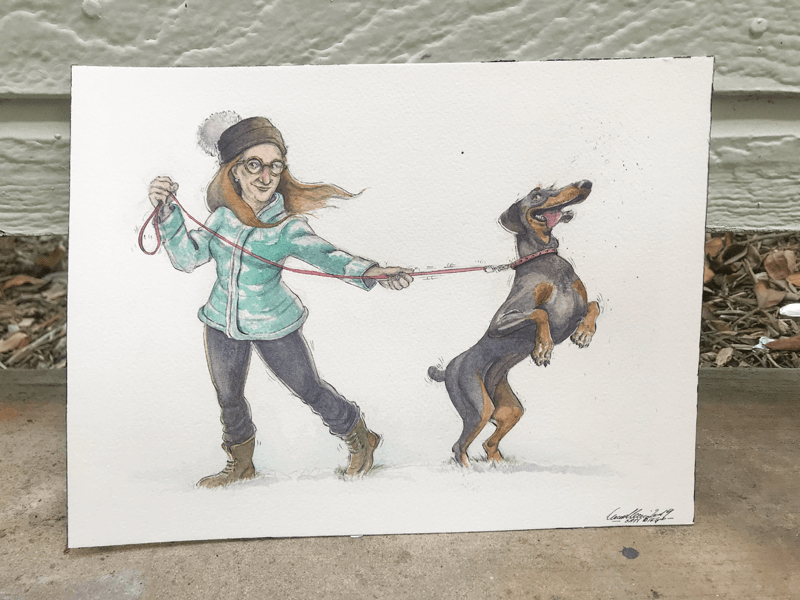 ArtCorgi - Watercolor and ink portraits by BenKleinArt featuring a woman and a dog