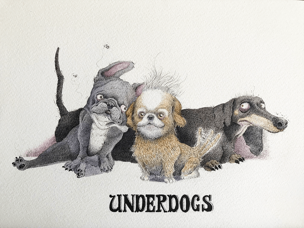 ArtCorgi - Watercolor and ink portraits by BenKleinArt featuring three dogs