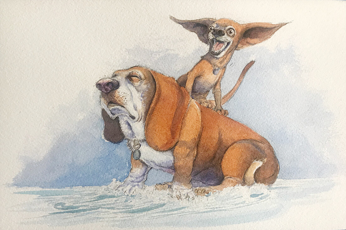 ArtCorgi - Watercolor and ink portraits by BenKleinArt featuring two dogs