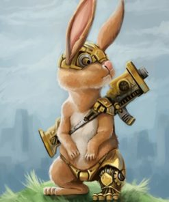 ArtCorgi - Pet and animal portraits by JohnyKatoArt featuring a bunny with armor