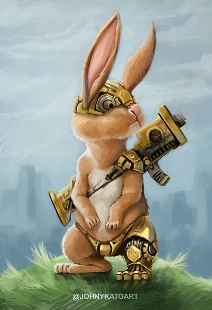 ArtCorgi - Pet and animal portraits by JohnyKatoArt featuring a bunny with armor