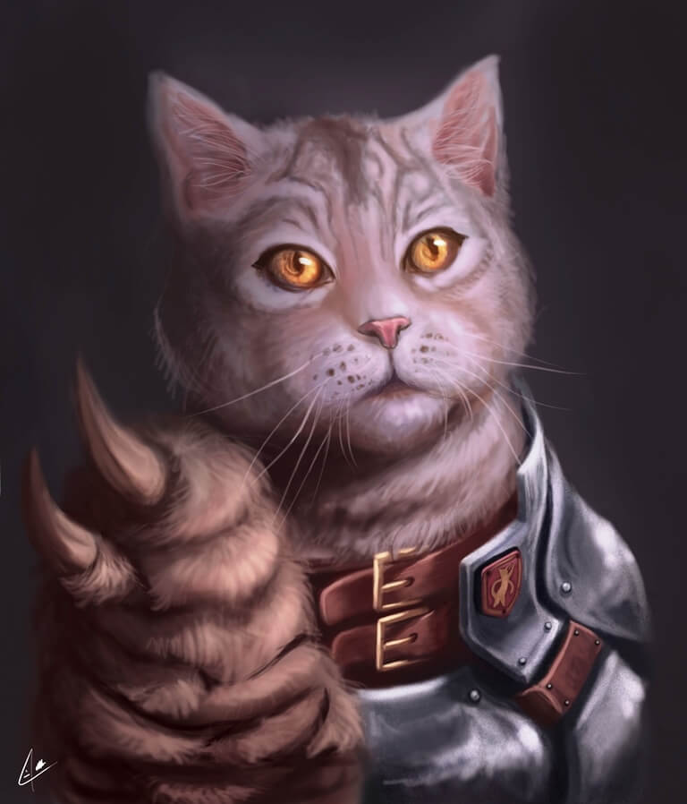 ArtCorgi - Pet and animal portraits by JohnyKatoArt featuring a cat soldier
