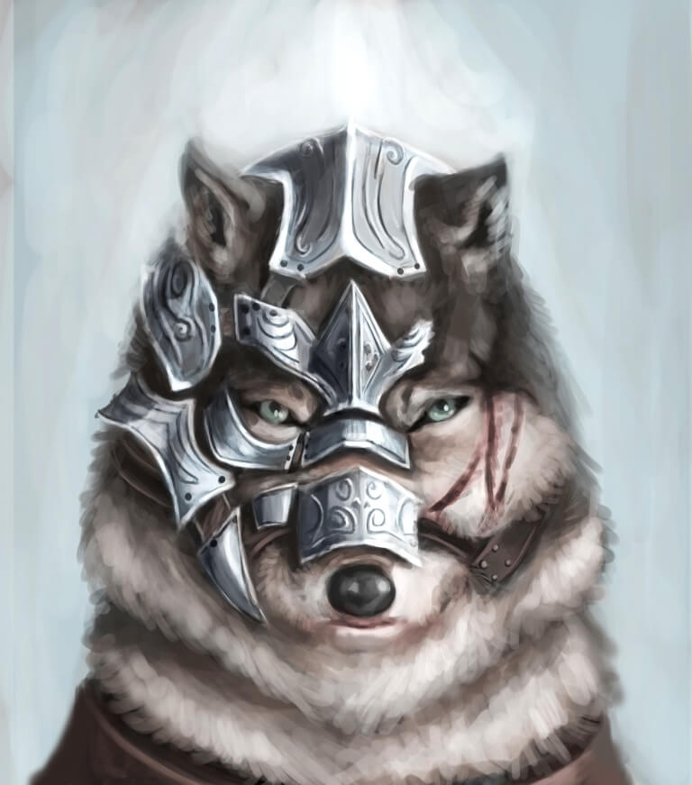 ArtCorgi - Pet and animal portraits by JohnyKatoArt featuring a wolf with head armor