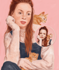 ArtCorgi - Semi Realistic Portraits by Katja Gospeti sample white woman with cats