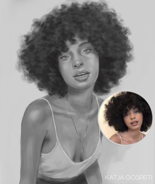 ArtCorgi - Semi Realistic Portraits by Katja Gospeti sample of a beautiful black woman