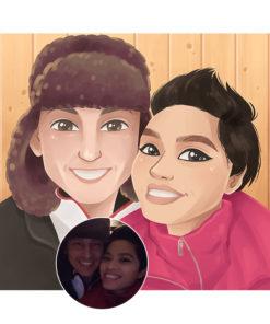 ArtCorgi - Cartoon Portraits by Leanza Commission Sample featuring a couple