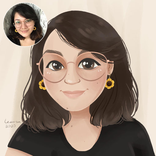 ArtCorgi - Cartoon Portraits by Leanza Commission Sample featuring a woman with glasses