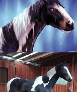 ArtCorgi - Pet Portraits by Danji commission sample featuring a horse