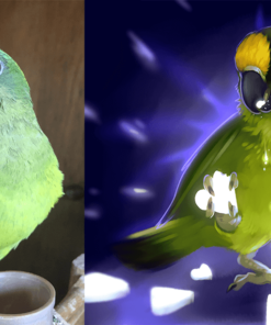 ArtCorgi - Pet Portraits by Danji commission sample featuring a parrot
